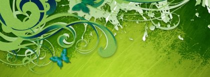 Green Butterfly Facebook Covers